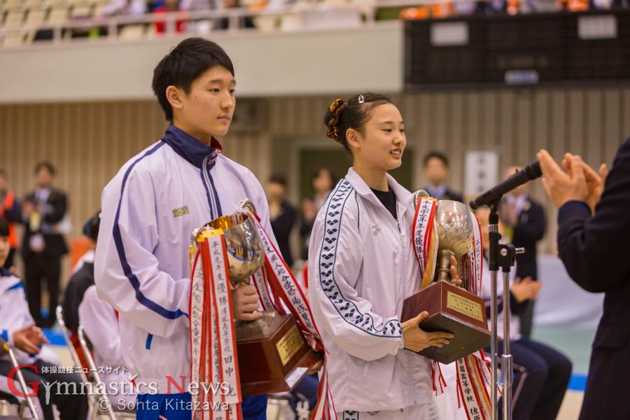 2016 高校選抜で優勝した鈴木茂斗と中路紫帆