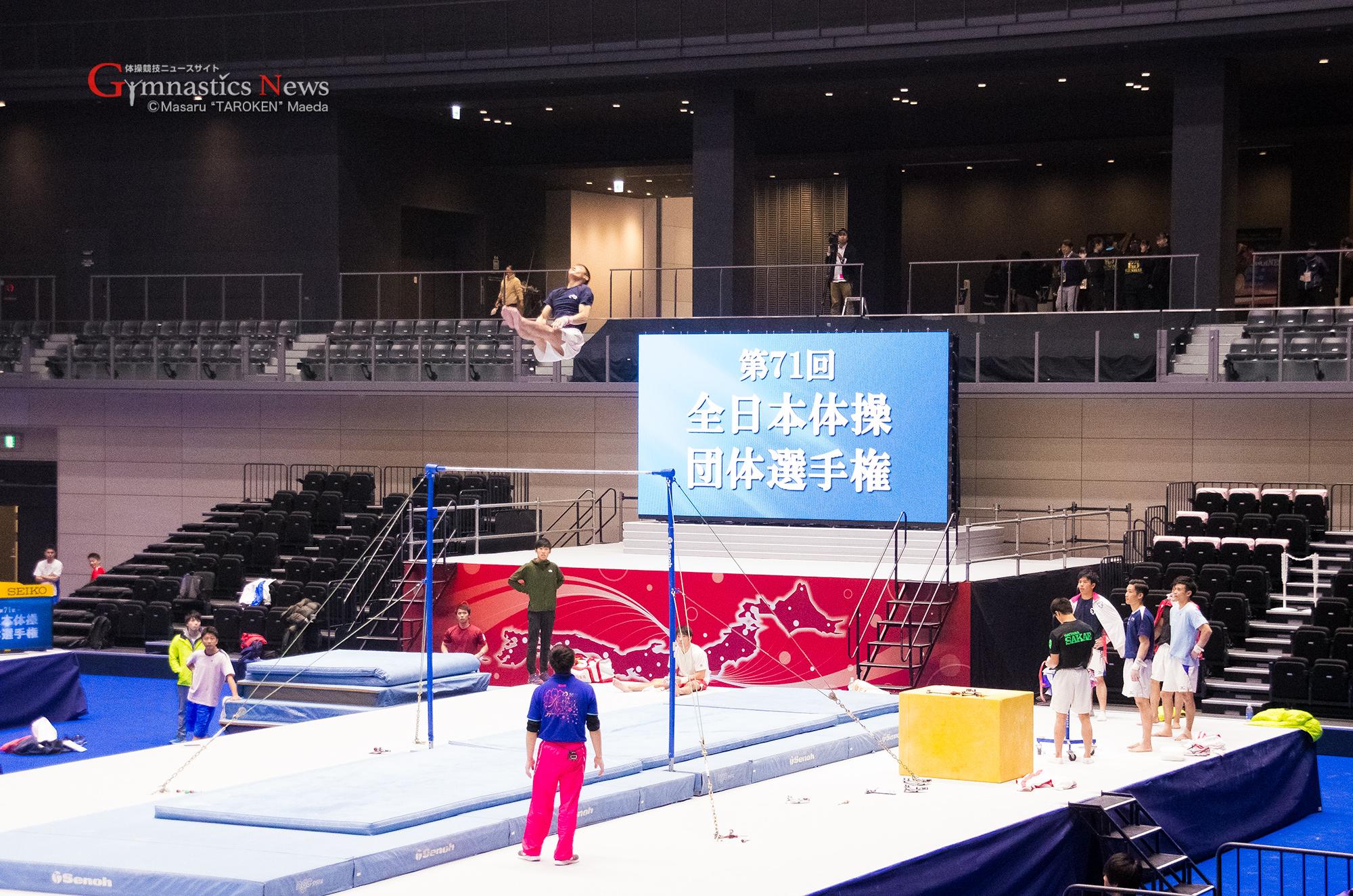 全日本団体の試合前練習